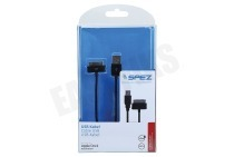 Spez 10154  USB Kabel Apple Dock connector, 100cm, Zwart geschikt voor o.a. Apple iPhone, iPad, iPod