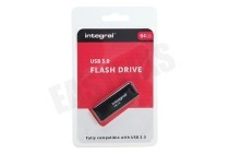 Integral INFD64GBBLK3.0  Memory stick 64GB USB Flash Drive Zwart USB 3.0