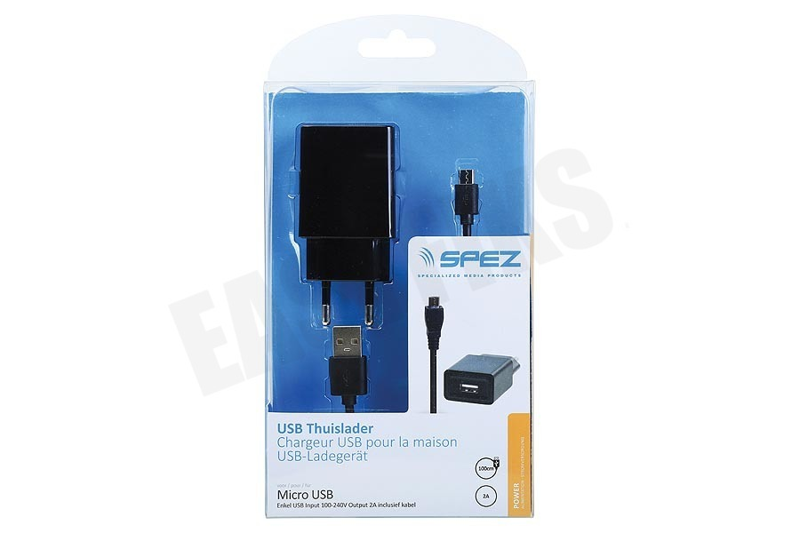 Spez  USB Thuislader Micro USB 2A inclusief kabel 100cm