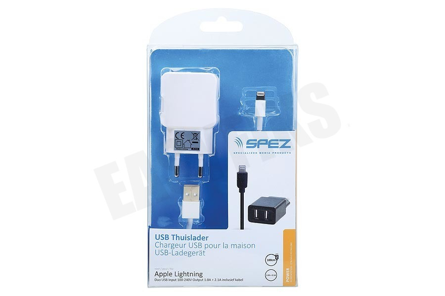 Spez  USB Duo Thuislader Apple Lightning inclusief kabel 100cm