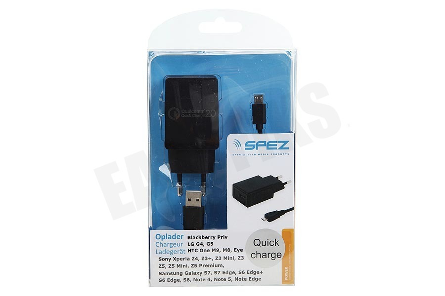 Spez  Oplader Quick Charge 2.0, 100cm