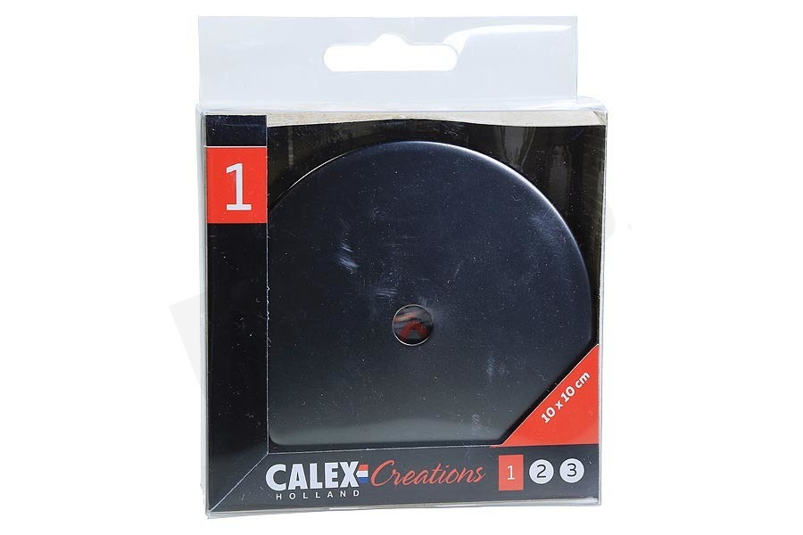 Calex  940014 Calex Metalen Plafondplaat 100mm Mat Parel Zwart 1 Gat
