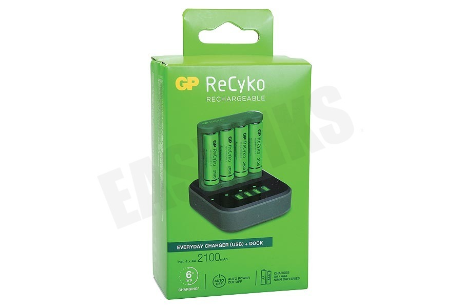 GP  B421 USB Batterijlader Dockingstation Recyko 4x AA 2100mAh