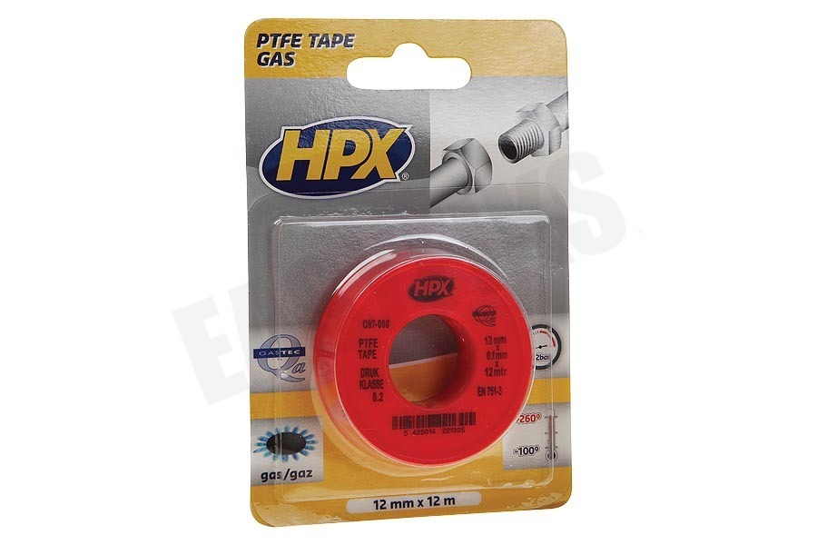 HPX  PT0012 PTFE Afdichtingstape Gas Wit 12mm x 12m