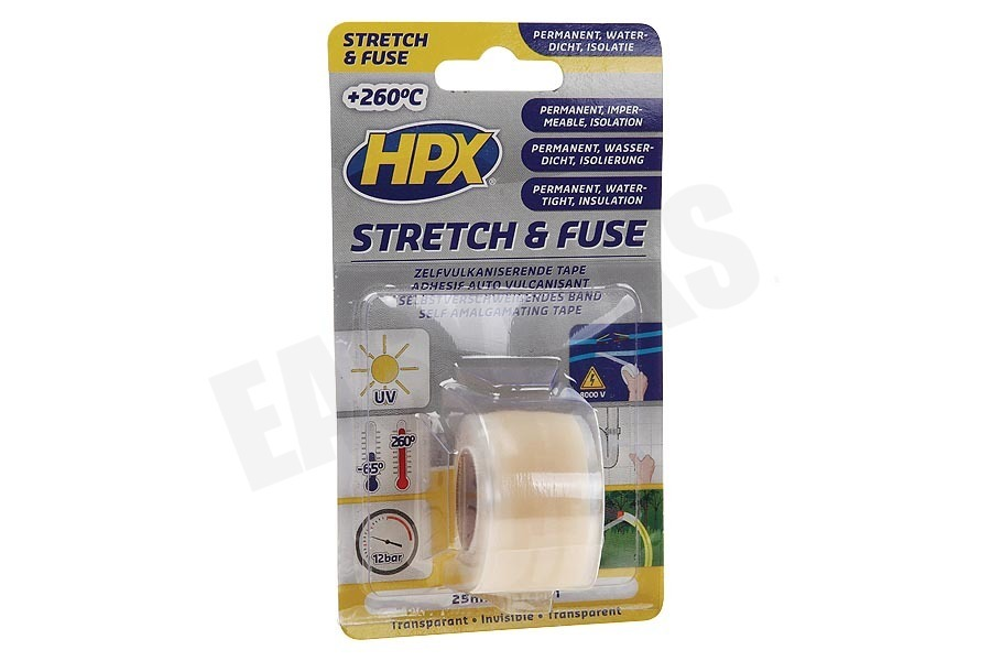 HPX  SI2580 Stretch & Fuse Transparant 25mm x 1,8m